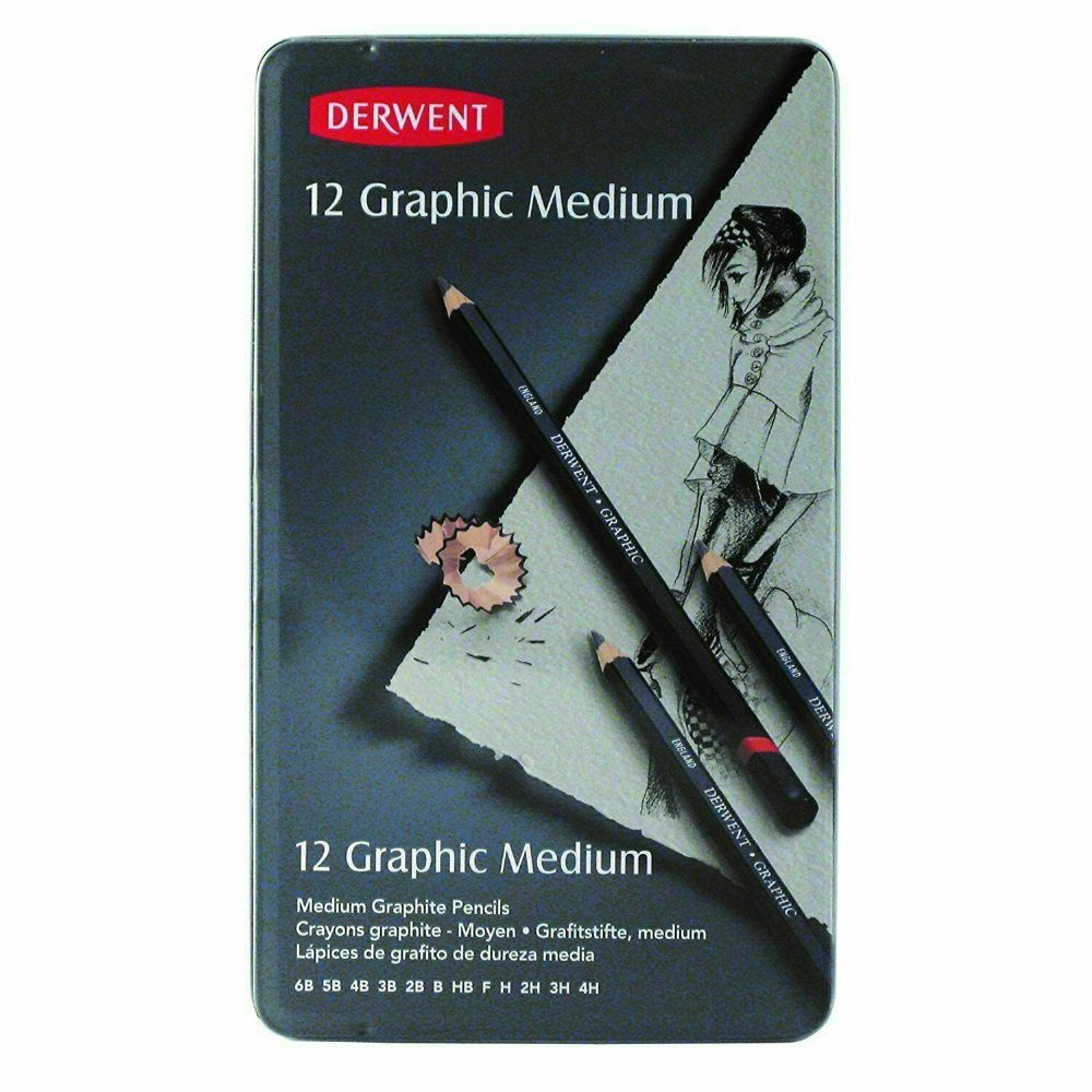 Derwent Graphic Medium Graphite Pencils, 6B-4H - Set of 12